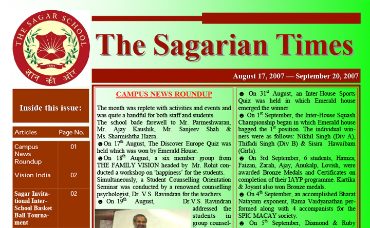 The Sagarian Times August - September 2007