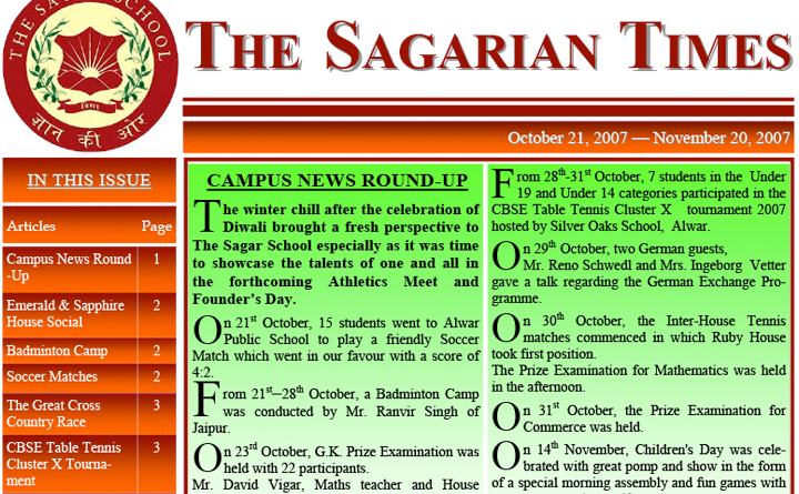 The Sagarian Times October - November 2007