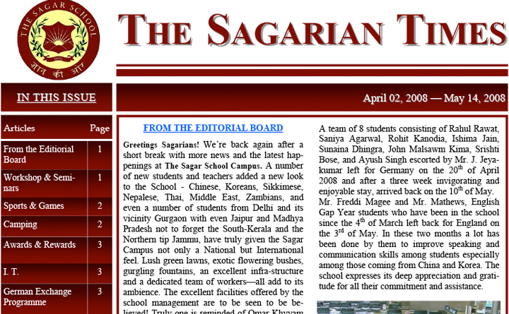 The Sagarian Times April - May 2008