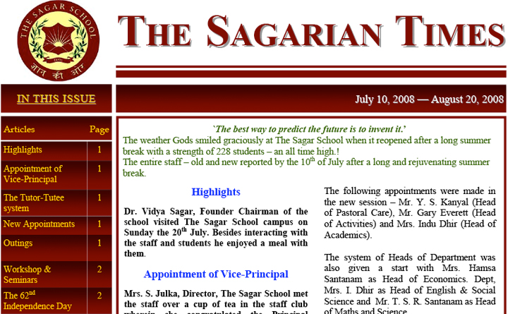 The Sagarian Times July - August 2008