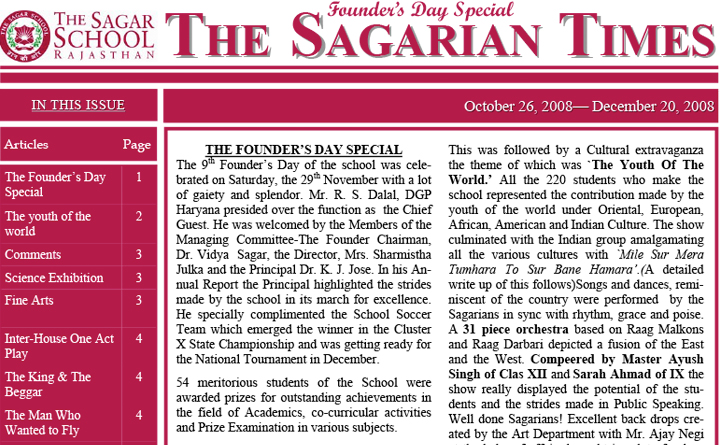 The Sagarian Times October - December 2008