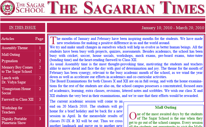 The Sagarian Times January - March 2010