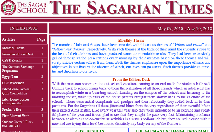 The Sagarian Times May - August 2010