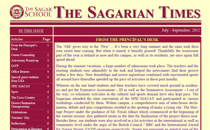 The Sagarian Times July - September 2012