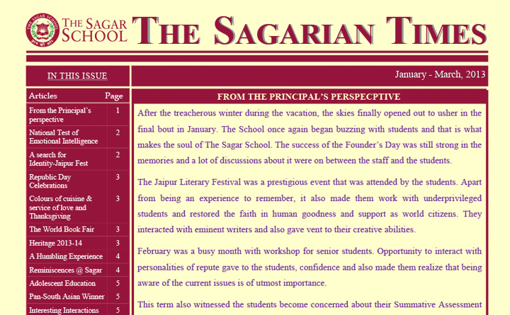 The Sagarian Times January - March 2013